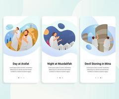 hajj guide étape par étape kit d & # 39; interface utilisateur illustration vectorielle vecteur