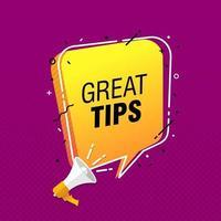 illustration vectorielle de haut-parleur avec phrase de bons conseils dans la bulle de dialogue vecteur
