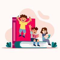enfants apprenant en jouant vecteur