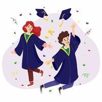 étudiant fêter son diplôme vecteur