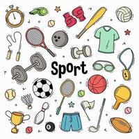collection de sport doodle dessiné à la main vecteur