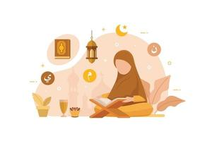 personnes musulmanes lisant et apprenant le livre sacré islamique du coran vecteur