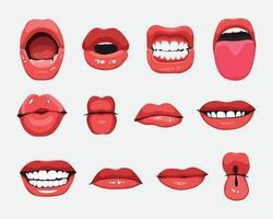 ensemble, de, bouche, expressions, gestes faciaux, vecteur, illustration vecteur