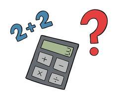 illustration de vecteur de dessin animé de calculatrice mauvais maths et point d'interrogation