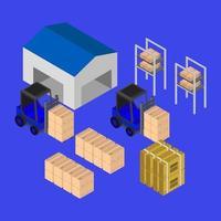conception d'entrepôt isométrique vecteur