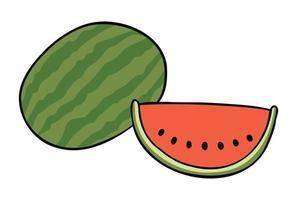 illustration vectorielle de dessin animé de pastèque entière et tranche de pastèque vecteur