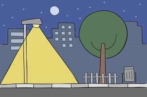 dessin animé, vecteur, illustration, de, scène ville, nuit, lampadaire, arbre, bâtiments, étoiles, et, pleine lune vecteur