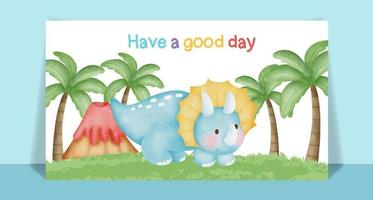 carte postale de dessin animé mignon dinosaure aquarelle vecteur