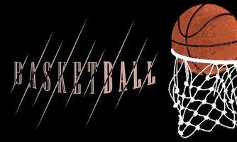 ballon de basket entrant dans une affiche de sport net vecteur
