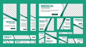 ensemble de bannières Web médicales de taille standard avec une place pour les photos vecteur