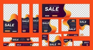 ensemble de modèles de bannières web de vente de taille standard avec place pour les photos vecteur