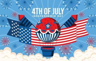 ballon à air chaud plâtré avec motif drapeau américain vecteur