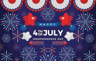 4 juillet ballons à thème feux d'artifice et rubans vecteur