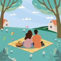 pique-nique en couple sur une herbe verte à la recherche du concept de ciel vecteur