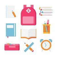 collection d & # 39; icônes de fournitures scolaires vecteur