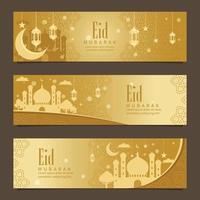 bannière eid mubarak doré vecteur