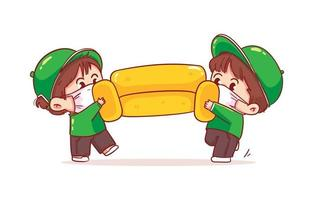 les déménageurs de l'homme de caractère de livraison portent un canapé en mouvement vecteur