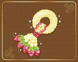 guirlande de jasmin et de roses thaïlandais illustration dessinée à la main vecteur