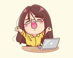 jeune femme s'étire après un long travail sur l'illustration de dessin animé d'ordinateur portable vecteur