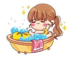 jolie fille prenant un bain avec jouet de canard et illustration de dessin animé de bulles vecteur