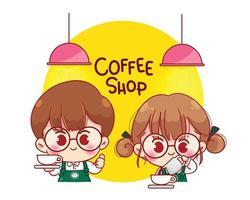 baristas mignons en tabliers faisant illustration de personnage de dessin animé de café vecteur