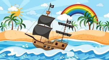 océan avec bateau pirate à la scène de jour en style cartoon vecteur