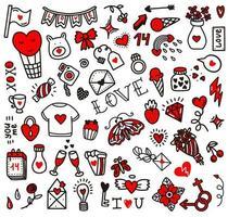 griffonnages d'amour de Saint Valentin. illustration vectorielle dans le style de doodle. conception pour la Saint Valentin, mariage, cartes de voeux vecteur