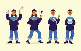 collection de personnages de graduation étudiant vecteur