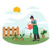 femme, arrosage, plante, concept vecteur