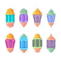 collection d'icônes de lanterne islamique vecteur