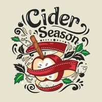 Doodle Illustration avec boisson chaude Cidre de pomme