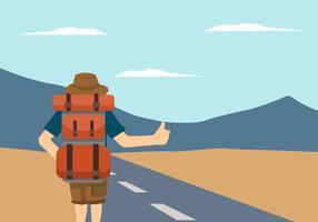 illustration vectorielle de l'auto-stop randonneur