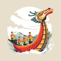 illustration vectorielle de festival de bateau dragon chinois vecteur