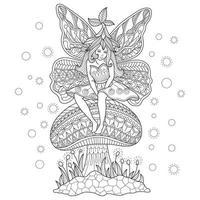 fille de fée assise sur le champignon, croquis dessiné à la main pour livre de coloriage adulte vecteur