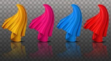 collection de tissus de tissu dynamique abstrait 3d illustration réaliste vecteur