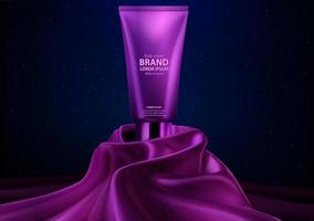 affichage de crème pour le corps réaliste de luxe cosmétique violet vecteur