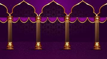 arc de vacances islamique et fond de poteau vecteur