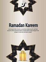 illustration vectorielle ramadan kareem avec éléments de motif arabe et lanterne dorée vecteur