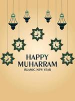 flyer de fête du nouvel an islamique joyeux muharram avec lanterne plate vecteur