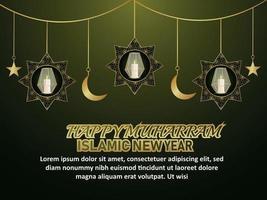 belle nouvelle année islamique avec lanterne dorée réaliste et lune vecteur