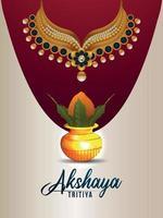 affiche de vente de bijoux indiens akshaya tritiya avec kalash doré avec collier en or vecteur