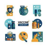 jeu d & # 39; icônes de recherche et de science sur les vaccins vecteur