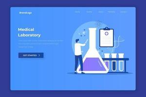 page de destination illustration de laboratoire médical vecteur