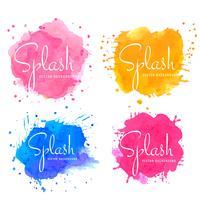 Set de splash aquarelle colorée abstraite vecteur
