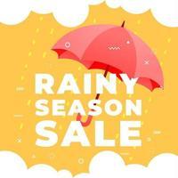 vente de saison des pluies avec parapluie rouge sur la bannière de fond jaune. vecteur