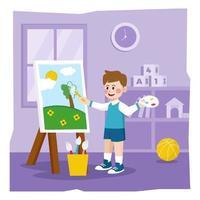 enfants dessinant sur toile vecteur