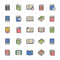 ligne de livre avec des icônes de couleur vector illustration sur fond blanc