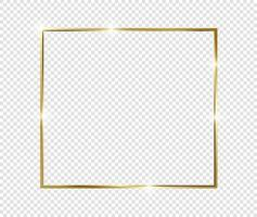 cadre brillant brillant or vintage de luxe doré avec des ombres isolé sur fond transparent vecteur