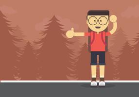 Hitch Hiker Illustration. Caractère de jeune homme pour une randonnée en auto-stop.
