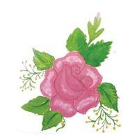 compositions florales aquarelle avec des feuilles vertes vecteur